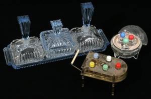 041540 ART DECO GLASS PERFUME BOTTLES  DRESSER TRAY