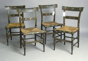 Set of 4 painted rush seat chairs