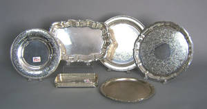 Nine silver plated trays
