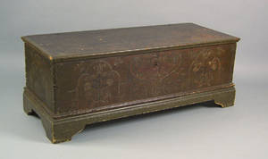 Pennsylvania painted pine dower chest dated 1780
