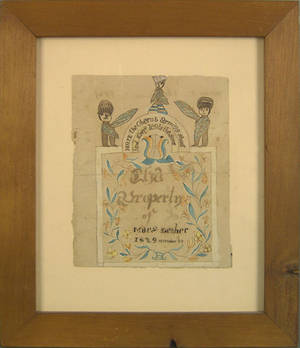 Watercolor and ink book plate for Mary Lesher 1829