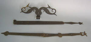 Two wrought iron strap hinges late 18th c