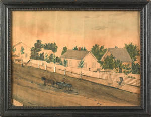 Pennsylvania watercolor street scene mid 19th c