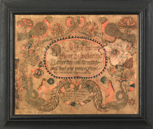 Southeastern Pennsylvania watercolor and ink on paper fraktur possibly by Heinrich Otto dated 1783