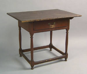 New England painted pine and maple tavern table late 18th c