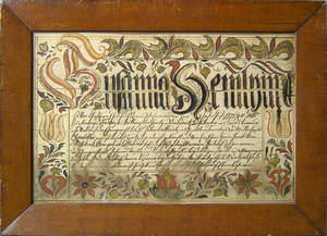 Northampton County Pennsylvania watercolor fraktur taufshein dated 1775 for Susanna Heinly