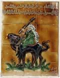 010495 SHOKY PERSIAN TILE PLAQUE ARAB ON CAMEL