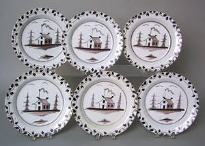 Set of six Delft plates ca 1750