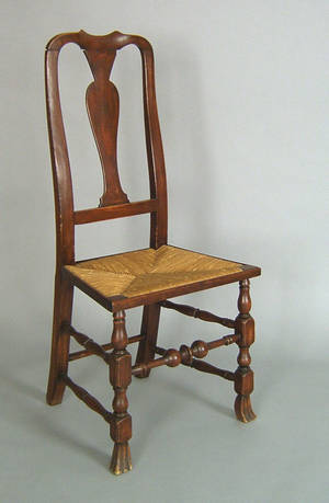 New England Queen Anne maple dining chair mid 18th c