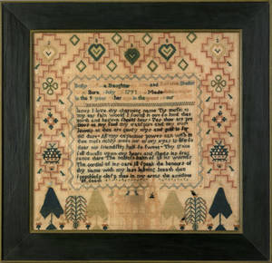Lancaster County Pennsylvania silk on linen sampler dated 1800 wrought by Dolly Sheller attributed to Miss Galligher School