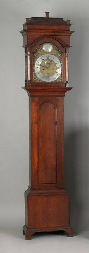 New Jersey Queen Anne walnut tall case clock ca 1755
