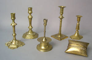 Five brass candlesticks 18th19th c