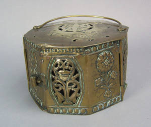 Dutch octagonal brass footwarmer 17th c