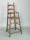 Pennsylvania maple ladderback highchair probably Lancaster County  ca 1780