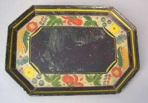 Black tole octagonal tray 19th c