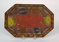 Red tole octagonal tray