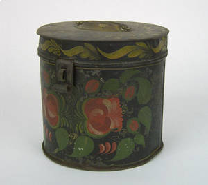 Black tole round canister 19th c