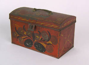 Red tole document box 19th c
