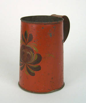 New York red tole mug 19th c