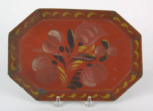 Red octagonal tole tray 19th c