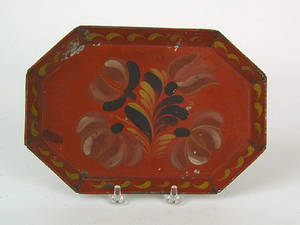 Red tole tray 19th c
