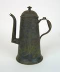 Unusual bluegreen tole coffee pot 19th c