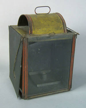 Large painted tinned sheet iron reflector lantern 19th c