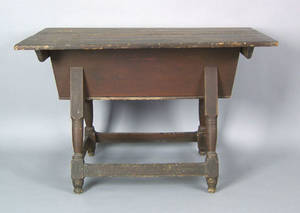Pennsylvania painted poplar and pine dough box on stand ca 1790