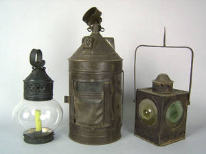 Round tinned sheet iron lantern 19th c