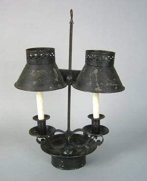 Tole decorated tin double arm adjustable bouillotte lamp early 19th c