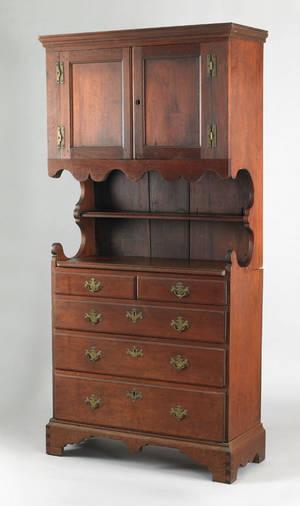 Pennsylvania Queen Anne walnut wall cupboard ca 1750