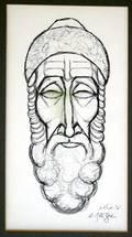 122521 A MEIZER PEN  INK 6x12 RABBI
