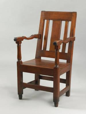 Pennsylvania walnut wainscot armchair ca 1720