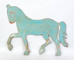 Painted sheet zinc horse weathervane pattern 19th c