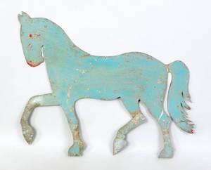 Painted sheet zinc horse weathervane pattern 19th c