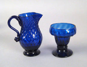 Cobalt blown glass creamer and salt 19th c