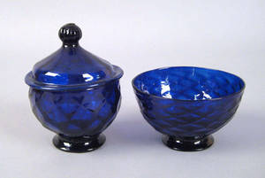 Two cobalt blown glass bowls 19th c