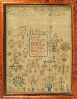 Oley Valley Berks County Pennsylvania silk on linen sampler wrought for Philip Mary and Anna Deturk 1822