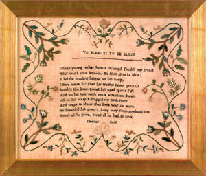 Silk on gauze needlework blessing dated 1821 wrought by Eleanor Goss