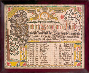 German ink and watercolor fraktur dated 1802