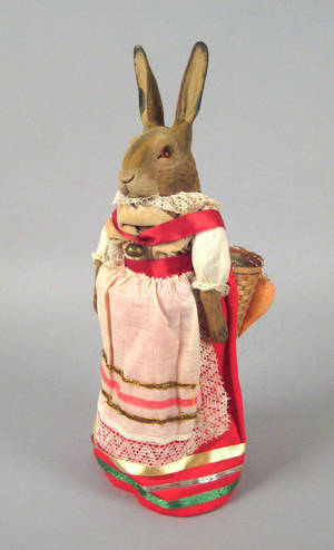 German paper mache rabbit candy container ca 1900
