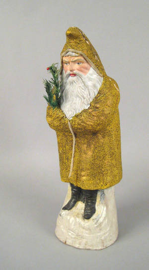 Large yellow paper mache belsnickle ca 1900