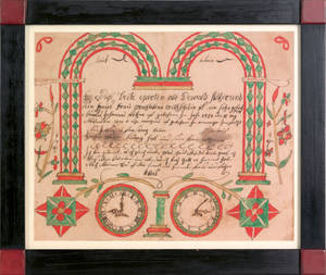 Pennsylvania watercolor and ink on paper fraktur for the Stober family late 18th c