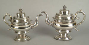 Two New York coin silver teapots ca 1830
