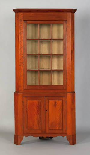 Pennsylvania Federal two part cherry corner cupboard early 19th c