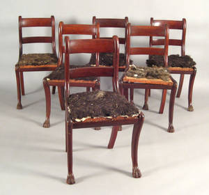 Set of six New England Federal mahogany dining chairs ca 1830