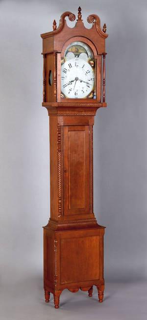 Pennsylvania cherry tall case clock ca 1825