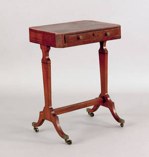 Regency rosewood and mahogany veneer sewing stand early 19th c