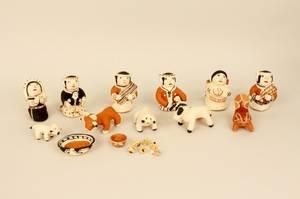 Native American Cochiti Pottery Nativity Set