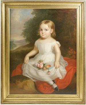 19th C American School Portrait of Young Girl